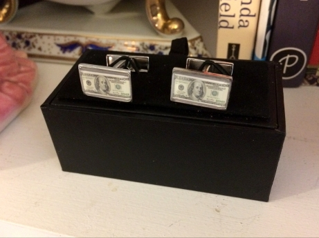 one hundred dollar bill cufflinks