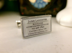 Personalized business card cufflinks Lannister