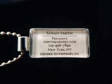 Personalized business card pendant