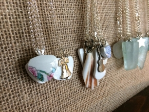 Pottery and sea glass pendants