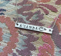 Stamped bar name necklace